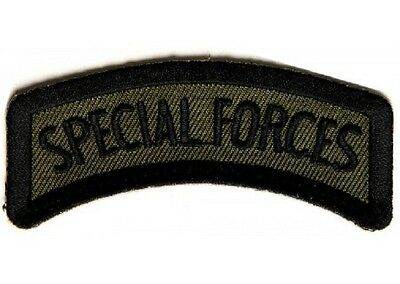 """(A6) SPECIAL FORCES 3"""" x 1.5"""" Rocker iron on patch (2208) Military Biker"""