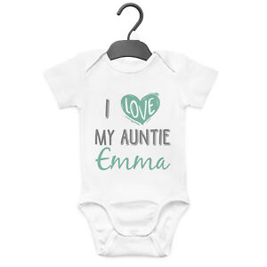 personalised gifts, baby bodysuit My aunty *name* loves me Baby grow