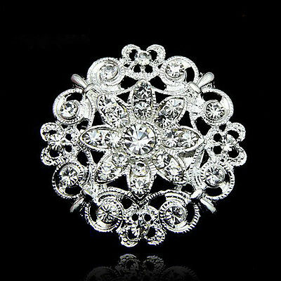 Vintage Style Rhinestone Crystal Wedding Bridal Bouquet Floral Flower Brooch Pin