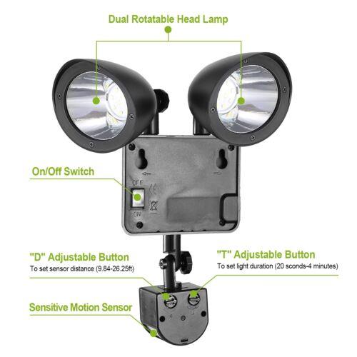 Waterproof LED Dual Head Solar Powered Yard Lights PIR Motion Sensor Spotlight