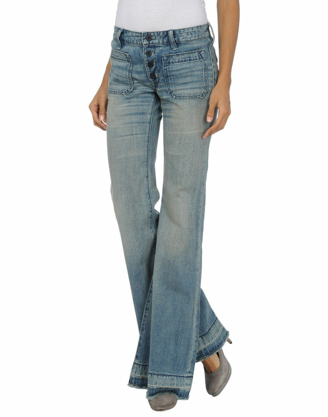 Denim & Supply Ralph Lauren Jeans Flare Button Fly Released Hem  28 x 34