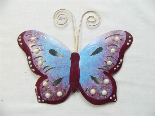 Metal Butterflies Wall Hanging Purple Butterfly Wall Art Ornament Set of 3