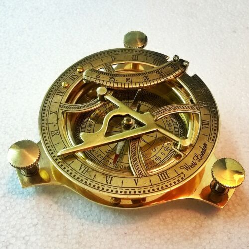 Brass Sundial Compass Vintage Collectible Item
