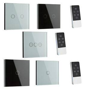 1 or 2 Way Glass LED Touch Light Gang Switch Timer Remote ...