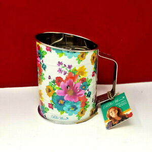 """Pioneer Woman /""""Breezy Blossoms/"""" Floral Farmhouse Metal Flour Sifter Hard to Find"""