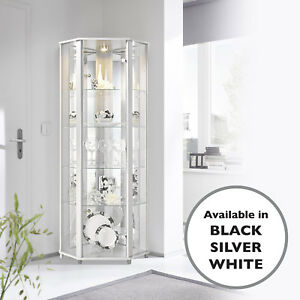 Home Glass Display Cabinet Corner White 4 Shelves Mirror