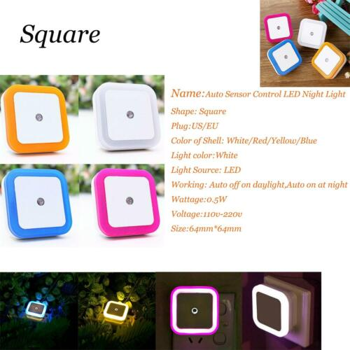 50X Enchufe LED Noche Luz Auto Sensor Mando Lámpara Pared para Dormitorio 5//10