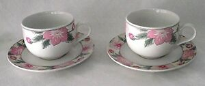 Arita-Chintz-Coffee-Cups-Saucers-2-New-Traditions-Pink-Green-Floral-Japan-China