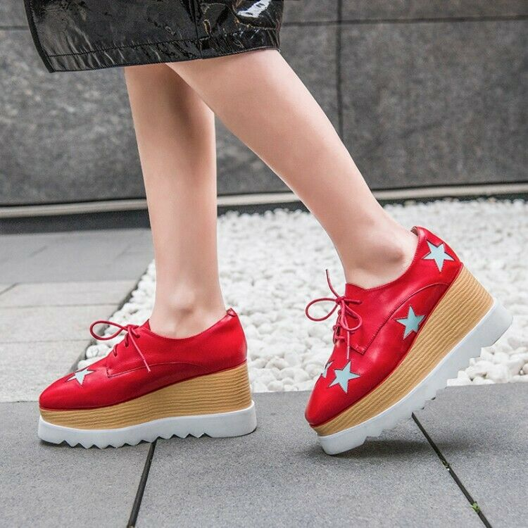 Fashion Women Leather Square Toe Creepers Lace Up High Wedge Wedge Wedge Heel Platform shoes b267f5