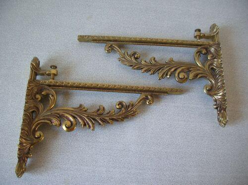 Ancienne paire de supports pattes d/'étagères équerre en métal doré de 19,8 cm