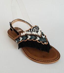 buy popular 6ed29 ab0a6 Details zu ❤NEU❤Damen Flach Sandalen Zehentrenner Schwartz stein perlen  Franzen 36 Schuhe