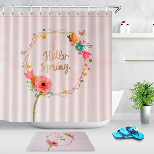 Hello Spring Flowers Wreath Butterfly Shower Curtain Set Waterproof Fabric Hooks