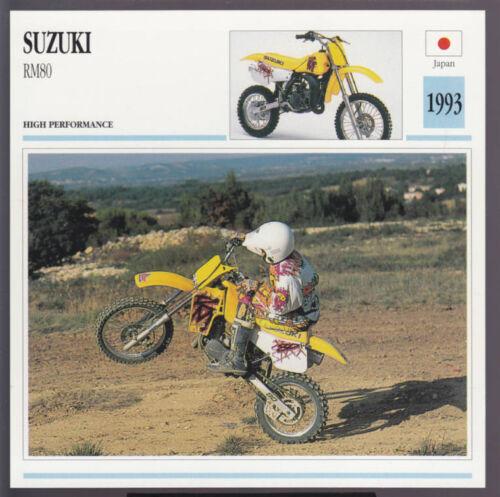 1993 Suzuki RM80 80cc Japan Motocross Bike Motorcycle Photo Spec Info Card