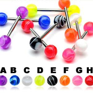 Zungen-Piercing-Barbell-amp-UV-Marmor-Kugel-Zungen-Stab-Schmuck