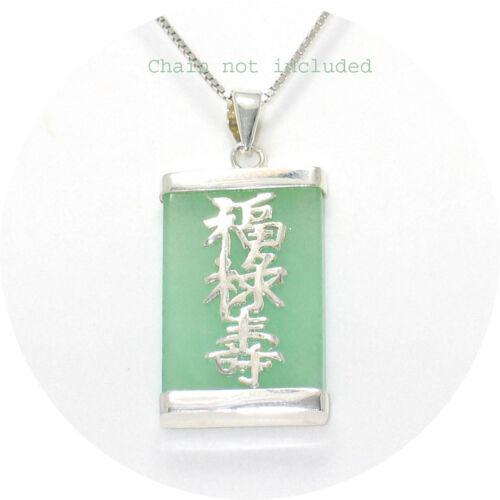 925 plata esterlina 3 estrellas de suerte en una Tablet Verde Jade Colgante Oriental tpj