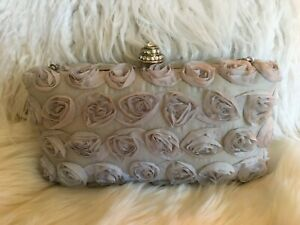 Alexia-Crawford-Gray-Satin-Roses-Box-Purse-Evening-Bag-Prom-Party-Wedding-Formal