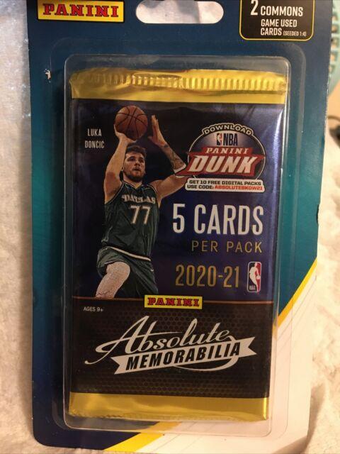 Panini Dunk: Absolute Memorabilia 2020-21 NBA Pack with 2 Bonus Cards - NEW