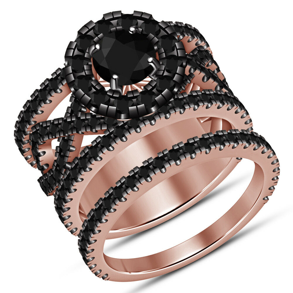Ladies Bridal Wedding Set 2.18 Ct AAA Diamond Engagement Ring 14K pink gold Over