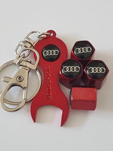 AUDI noir TOP RED DUST VALVE CAPS /& Clé Tous les modèles de Vente Au Détail Pack A8 Q5 R8 A4
