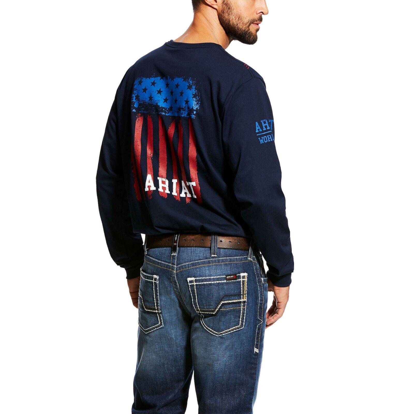 Ariat® Men's FR Americana Graphic Crew Navy T-Shirt 10023951