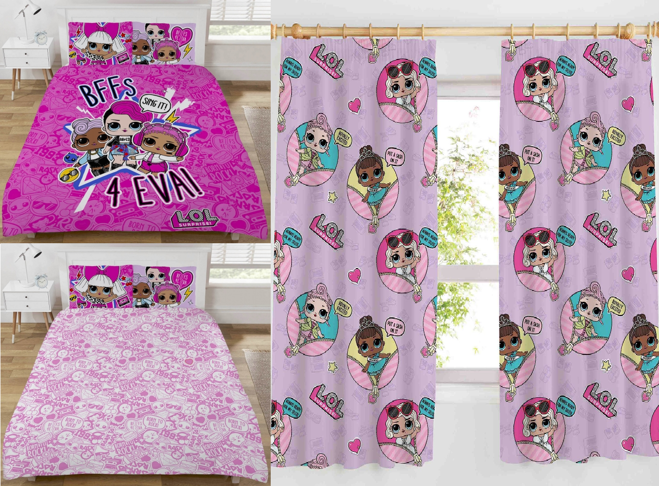 LOL SURPRISE DOUBLE Bett & 66  X 72  CURTAINS SET BFF FOREVER lila REVERSIBLE