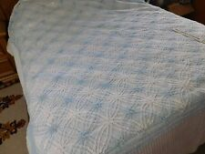 Vintage Chenille Bedspread  White/Blue wedding rings