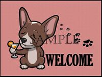 Chihuahua Dog Cocktail Bar Drinking Graphic Art Welcome Home Door Floor Mat Rug