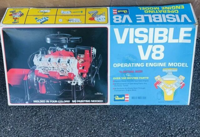 Vintage 1977 Revell Visible V8 plastic model engine kit no  H-902