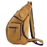 Mens Genuine Leather Sling Pack Shoulder Bag Sport Travel Cross Chest Backpack