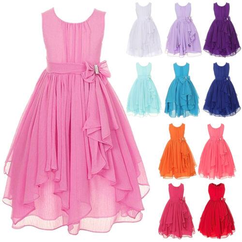 Kid Girl Party Bow Maxi Dress Wedding Birthday Bridesmaid Prom Princess Sundress