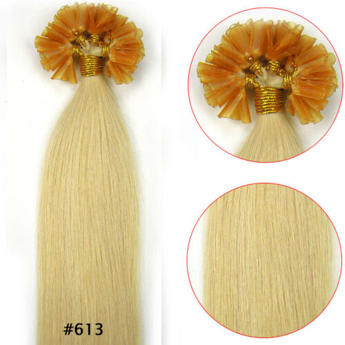 100S Pre Bonded U Tip Glue Remy Human Hair Extensions Staight #613 Light Blode