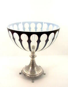 traumhafte Biedermeier Aufsatzschale - Silber & Glas