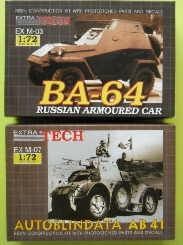 """2 EXTRA TECH Resinbausätze /"""" BA-64 u AUTOB.AB 41 /"""" Nr EX M-03u.-07 1//72"""