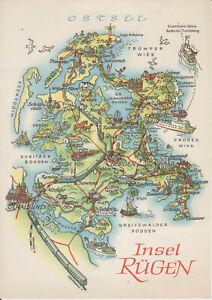 Ansichtskarte Zeichnung Panorama Landkarte Insel Rugen 1970