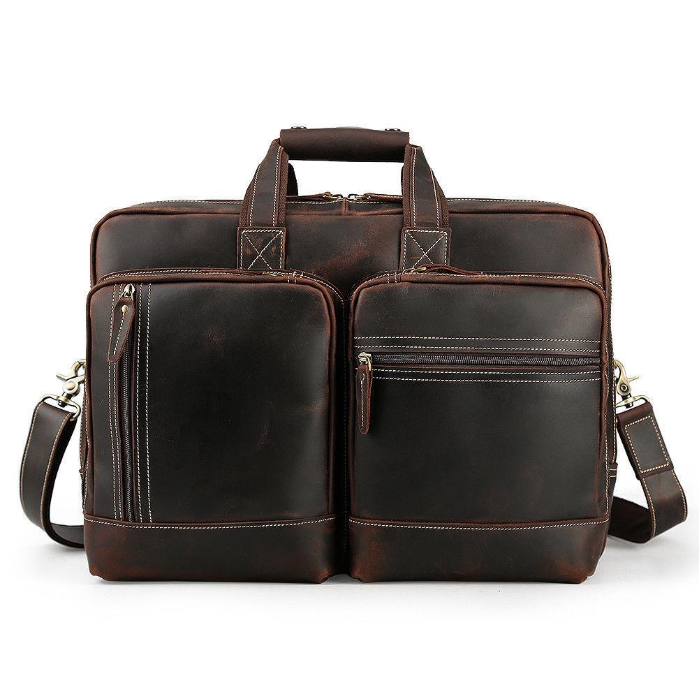 """Vintage Leather 17/"""" Laptop Briefcase Travel Shoulder Bag Satchel Luggage Holdall"""