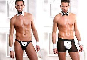 Homme-Fun-Sous-vetements-Calecon-Tenue-de-serveur-Serveur-butles-sexy-jeu-de-role