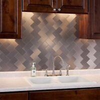 32-pack Kitchen Backsplash Tile Peel And Stick Metal Tiles, 3x6 Silver Subway