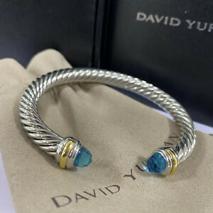 DAVID YURMAN New Cable Classic Bracelet with Blue Topaz & Sterling Silver 7mm