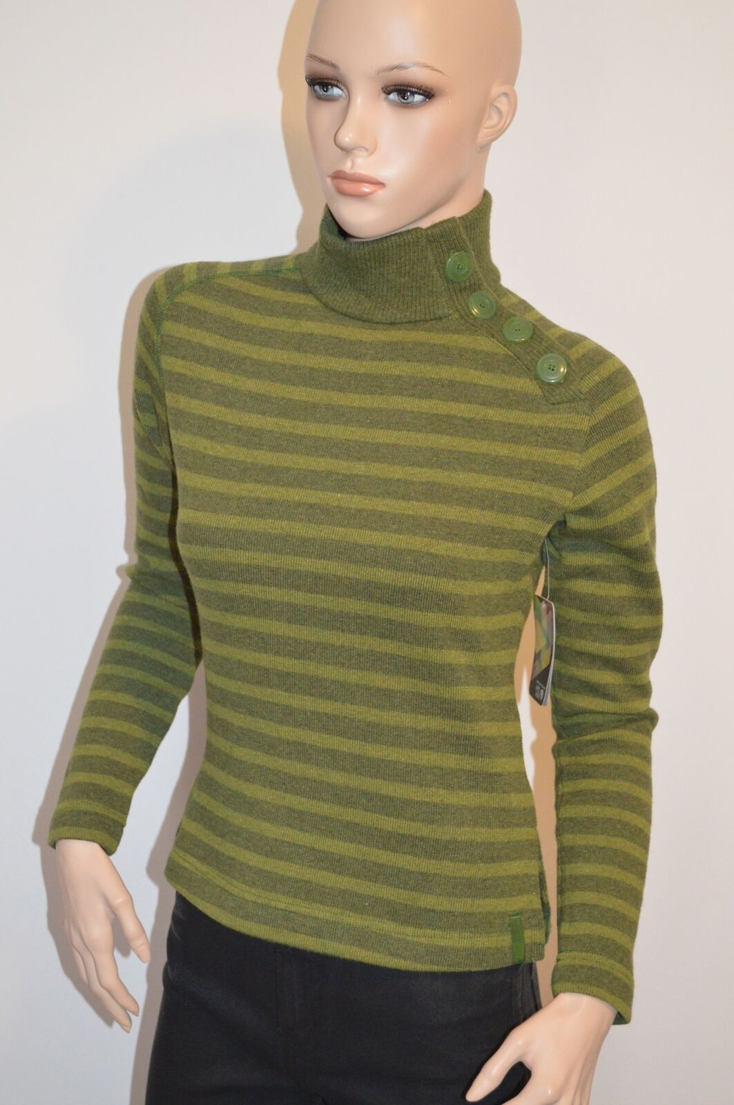 New  120 Mountain Hard Wear Sevina Sweater XS Green Stripe
