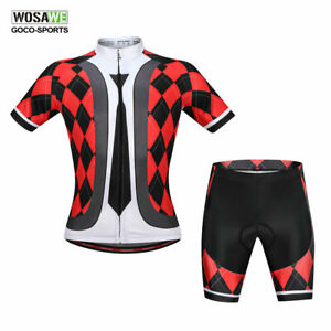 Mens-Cycling-Set-Short-sleeve-Bike-Jersey-Shorts-kit-Breathable-Bicycle-Clothing