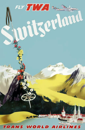 TX171 Vintage Switzerland Swiss Airline Airways Travel Tourism Poster RePrint A4