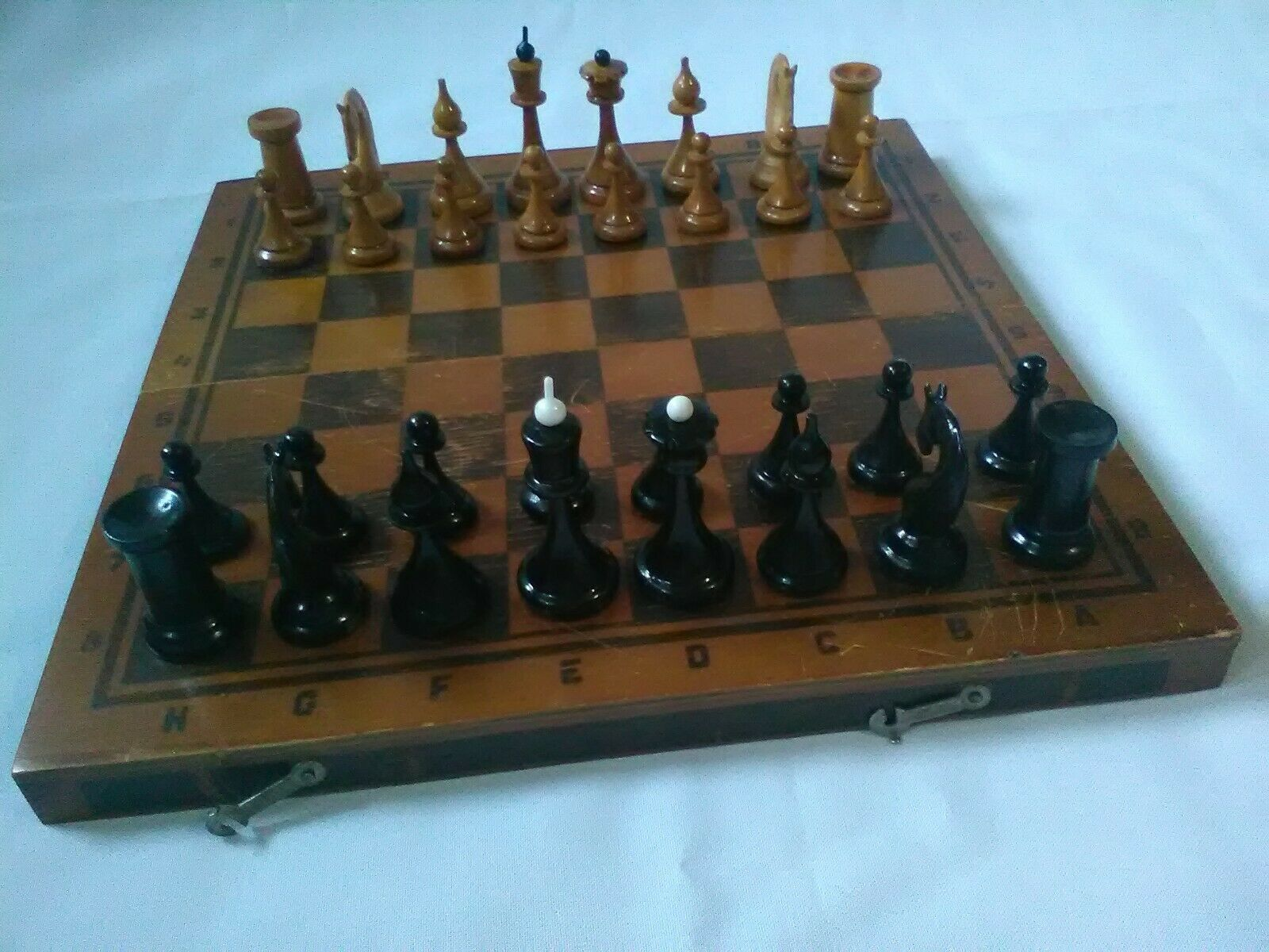 Mordovskaya USSR  Rare Wooden Chess.Vintage 1970s Chess With original Stamp.