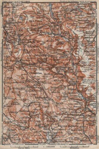 DERBYSHIRE PEAK DISTRICT Buxton Asbourne Bradfield Eyam Hathersage 1927 map