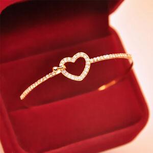 Femme-Bracelet-Strass-Cristal-Love-amoureux-mariage-bracelet-manchette-cadeau-NF