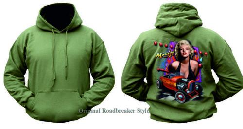 /& vintagemotiv MODELLO MARILYN MONROE Con cappuccio Pullover in verde oliva v8 60/' Style Hot Rod