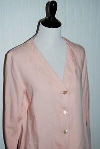 New-J-Jill-Petal-Pink-Linen-Blend-Lightweight-Blazer-Jacket-Womens-size-14