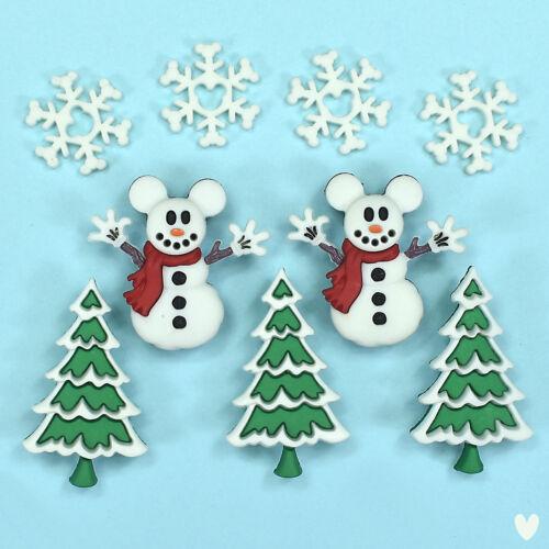 8234 DRESS IT UP Boutons Bonhomme de neige Arbre de Noël Disney Mickey bonhommes de neige