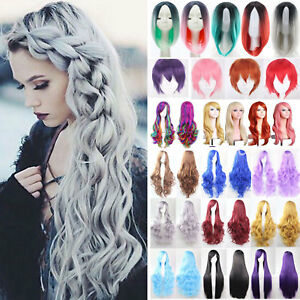 Womens Short Long Hair Full Wigs Natural Curly Wavy Straight Wig Cosplay