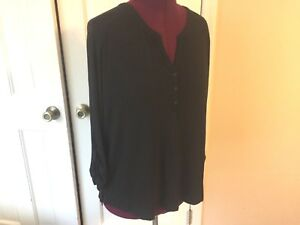 7c499afcab4be9 OLD NAVY LADIES SIZE XL BLACK BLOUSE PULLOVER V-NECK SHIRT RAYON ...