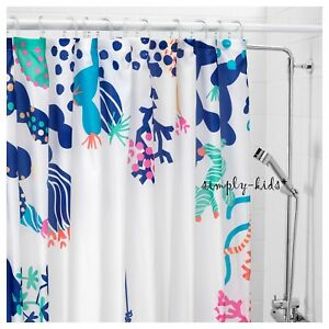 Image Is Loading Ikea Shower Curtains Ocean Fish Fabric Curtain Kids